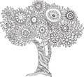 Floral black and white tree. Royalty Free Stock Photo
