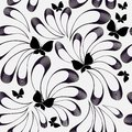 Floral black and white vector seamless pattern. Black blurred hand drawn doodle flowers and butterflies. Radial lines. Monochrome