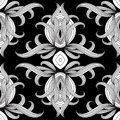 Floral black and white vector seamless pattern. Hand drawn vinta