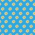 Floral blue seamless chamomile drawing. vector illustration. White daisies seamless pattern on a bright background. Royalty Free Stock Photo
