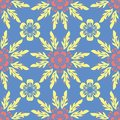 Floral blue seamless pattern. Bright background with colored flower elements