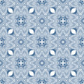 Floral blueprint mediterranian pattern Royalty Free Stock Photos