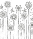 Floral border background made of many doodle flowers and butterflies