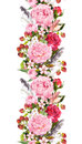 Floral border with flowers, roses, feathers. Vintage repeated strip. Watercolor Royalty Free Stock Photo