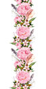 Floral border with pink peony flowers, cherry blossom and bird feathers. Repeating boho banner. Watercolor