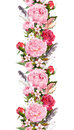 Floral border with pink peony flowers, roses, cherry blossom, bird feathers. Vintage seamless stripe in boho style
