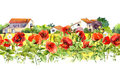 Floral border with poppies, rural farm houses. Watercolor meadow flowers, grass, herbs. Seamless strip frame Royalty Free Stock Photo
