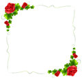 A floral border with red roses Royalty Free Stock Photo