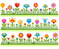 Floral borders with abstract flowers vector Royalty Free Stock Photo