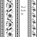 Floral borders set of decorative on white Stock Photos