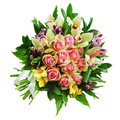 Floral bouquet of roses lilies and orchids arrangement centerpi centerpiece isolated on white background closeup Stock Photos