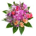 Floral bouquet of roses lilies and orchids on white ba background closeup Stock Photography