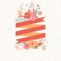 Floral bouquet with stripe for text bunch of flowers in autumn colors ideal invitation card Stock Photography