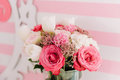 Floral bouquet in the tenter rose and pink colors Royalty Free Stock Photo