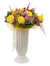 Floral bouquet of yellow roses and orchids arrangement centerpie centerpiece in vase isolated on white background closeup Royalty Free Stock Image
