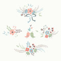 Floral bouquets cute with retro flowers laurels bow and birds Stock Photography