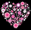Floral bright pink Heart Stock Photos