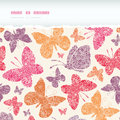 Floral butterflies frame horizontal seamless vector pattern background with hand drawn elements Royalty Free Stock Images