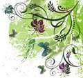Floral and butterfly illustration Stock Images