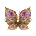 Floral butterfly made of flowers and leaves Royalty Free Stock Photo