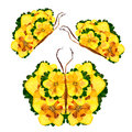 Floral butterfly made of narcissus petals leaves and flowers