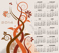 Floral calendar illustration of decorative Stock Photos