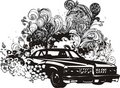 Floral car illustration Stock Images