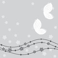 Floral card with butterflies in grey hues Royalty Free Stock Photo