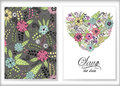 Floral card design, flowers and leaf doodle elements. Cute