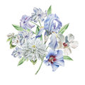 Floral card with flowers. Chrysanthemum. Iris. Hyacinth. Watercolor illustration.