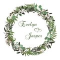 Floral card with leaves eucalyptus, brunia, fern and boxwood. Greenery round frame. Rustic style. For wedding, birthday, party,