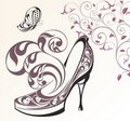 Floral card with shoes and butterfly Royalty Free Stock Photos