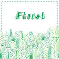 Floral card with silhouettes of plants and herbs the inscription Royalty Free Stock Images
