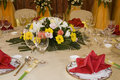 Floral Centerpiece at Banquet Stock Images