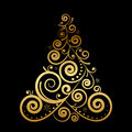 Floral christmas tree vector gold Royalty Free Stock Images