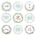 Floral circle doodle frames. Circular laurel wreath, flourish monogram borders, hand drawn botanical shapes. Vector
