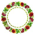 Floral circle hand drawn illustration in ukrainian folk style Royalty Free Stock Photos