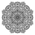Floral circular pattern mandala for coloring page outline illustration