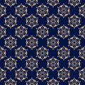 Floral colored seamless pattern. Golden blue background with fower elements for wallpapers