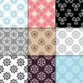 Floral colored seamless patterns. Backgrounds with fower elements for wallpapers. Royalty Free Stock Photo