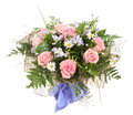 Floral composition bouquet of white daisies and p arrangement pink roses Stock Images