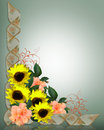 Floral Corner Design sunflowers and hibiscus Royalty Free Stock Image