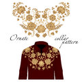 Floral curl neck embroidery for blouses. Vector, illustration. Decoration for clothes. Front collar design.