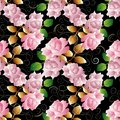 Floral 3d roses seamless pattern. Vector black background wallpaper illustration with vintage pink 3d roses flowers, gold green l