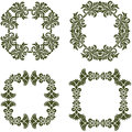 Floral damask frames a set of borders Royalty Free Stock Image