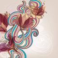 Floral decoration and swirls in retro style illustration Royalty Free Stock Images