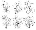Floral decorations six black swirled Stock Photography