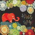 Floral decorative border witn elephant Royalty Free Stock Photo