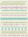 Floral decorative borders ornamental rules dividers vector Royalty Free Stock Photos
