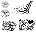 Floral decorative corner set Vector illustration. Royalty Free Stock Photo